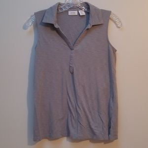 SIGRID OLSEN | LIGHT BLUE V-TANK W/COLLAR, SZ XS
